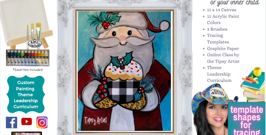Santa Cupcake Christmas ~ Painting Party Pack