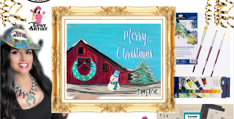 Merry Christmas Red Barn with Wreath  Painting Kit ~ Painting Party Gift Pack