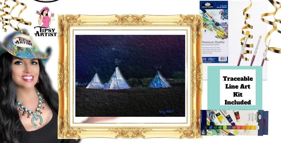 Three Teepees at Night ~ Painting Kit