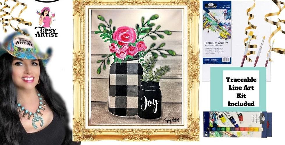 Joy Buffalo Check Mason Jar w/Roses ~ Painting Kit