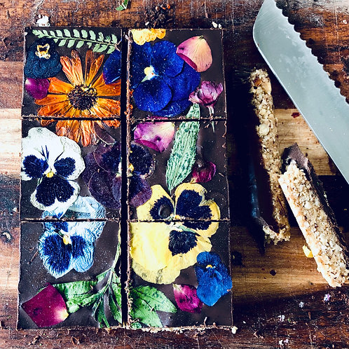 Floral Chocolate Hazlenut Slices
