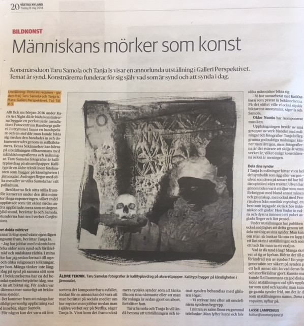 Article in Västra Nyland in May 2018