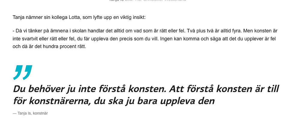 Art doesn't have to be understood, you just need to experience it. An article written by Monica Eklund, published by svenska Yle.
