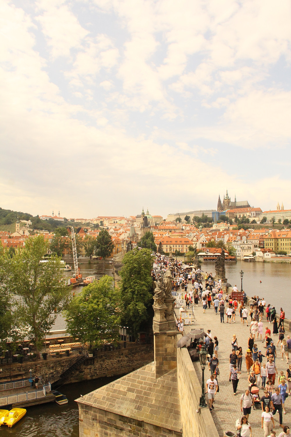 Charles bridge in Prague which is overcrowded