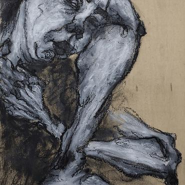 Rendezvous W_7, 35 x 25 cm, Oil pastel on wood panel, 2020