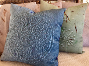 Our designs now on Fabric and we've made cushions right here!