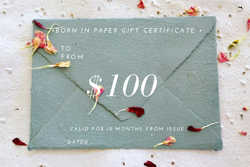 Gift Certificates for Born In Paper products