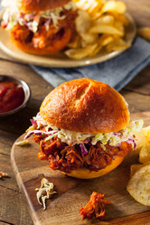 Pulled Chicken Sliders with Smokey Peach BBQ Sauce