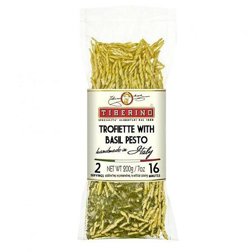 Trofiette pasta with basil Pesto