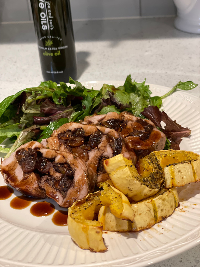 Stuffed Pork Tenderloin with Dried Fruits and a Fig and Mushroom Sage Gastrique