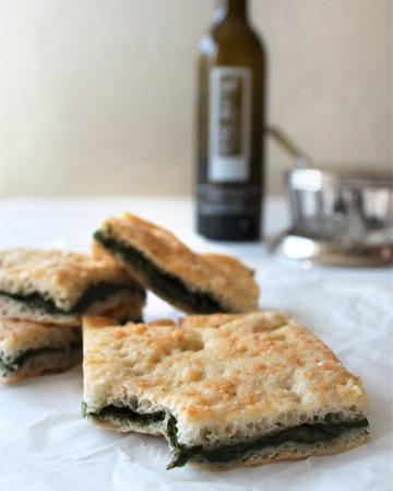 Sciacciata di Giri (Sicilian Foccacia with Spinach and Garlic)