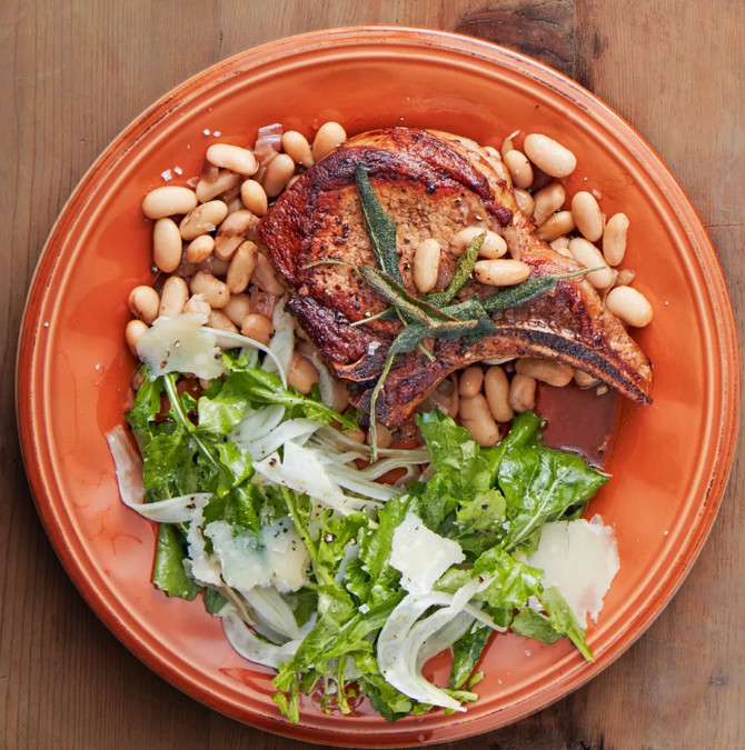 Bone-In Pork Chop with Sage and Balsamic Beans