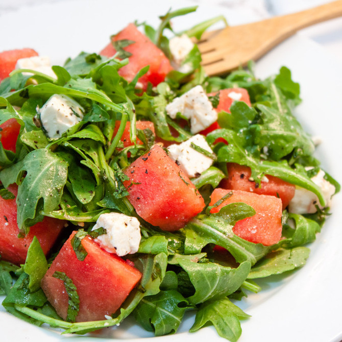 Arugula Watermelon and Feta Salad with Lemon-Basil Vinaigrette