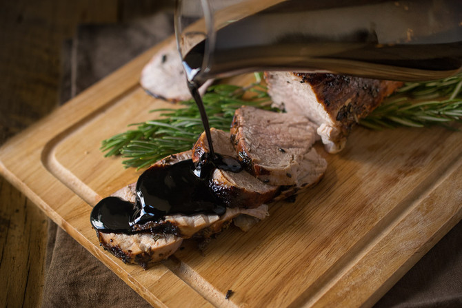 Roasted Pork Tenderloin with Rosemary Garlic Cherry Sauce