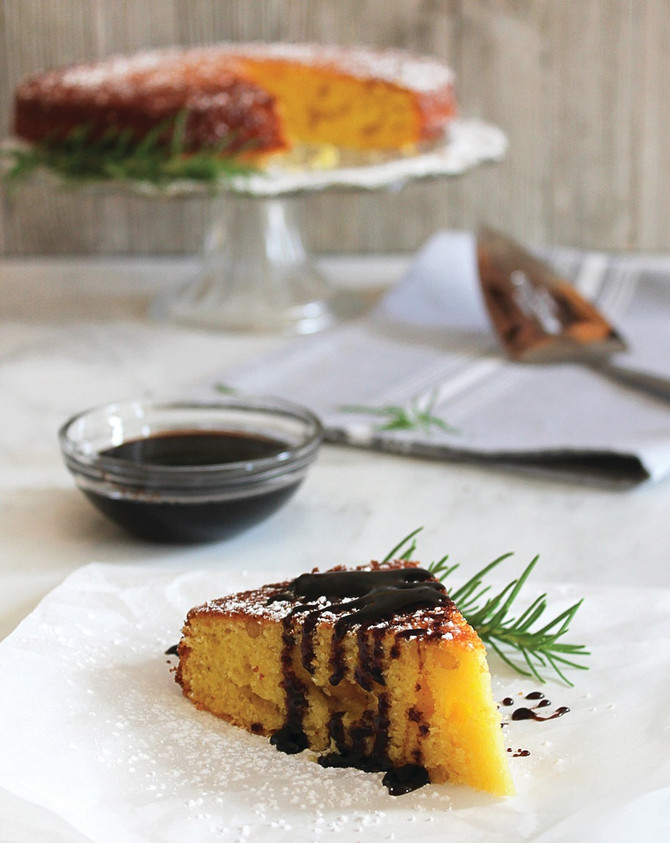 Rosemary Apple Cake with Red Apple Balsamic Glaze