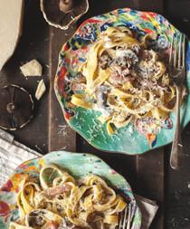 Creamy Pasta With Bacon, Portobello Mushrooms, and Truffle Oil