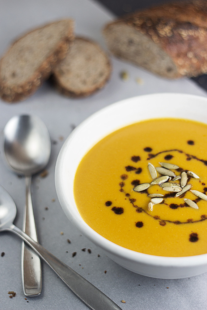 Pumpkin Soup with Mushroom Sage and Maple Balsamic