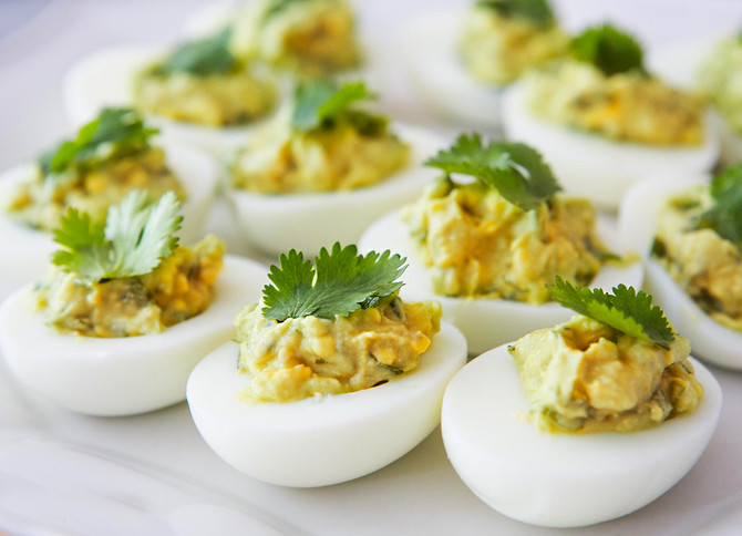 Smoked Olive Oil Deviled Eggs