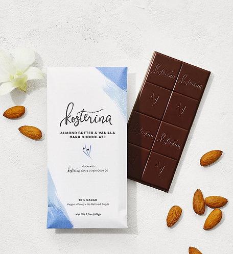 Olive Oil Dark Chocolate Bar — Almond Butter & Vanilla
