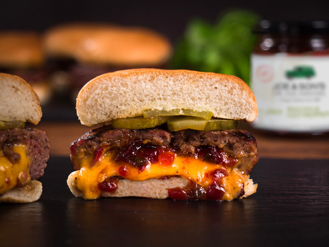 The VERY Best Stuffed Hamburger with Hot Pepper Bacon Jam