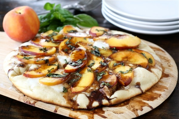 Peach Basil Mozzarella & Basil Pizza with Balsamic Reduction