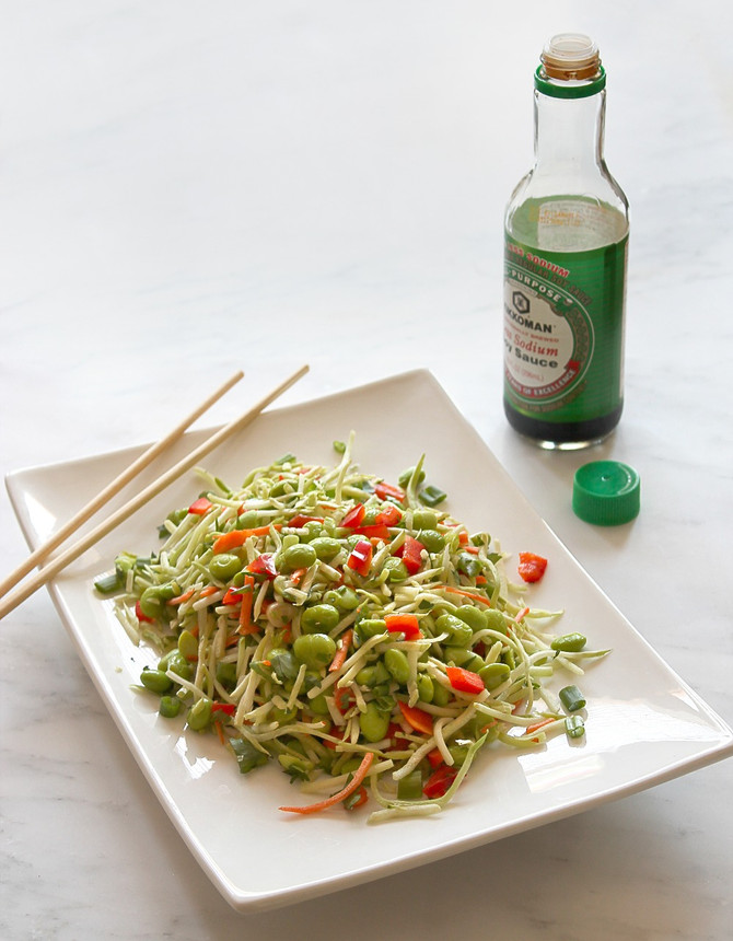 Edamame Broccoli Slaw with Honey Ginger and Sesame Vinaigrette