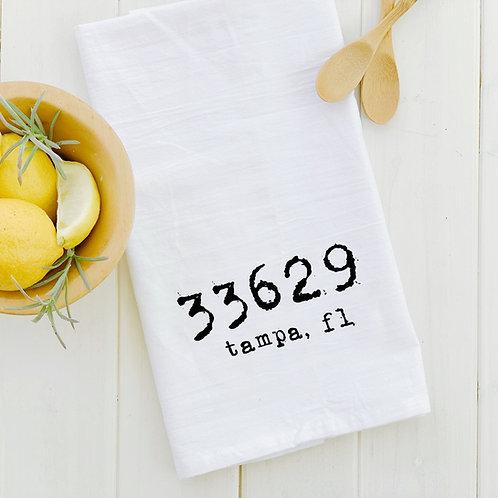 Tampa Zip Code Tea Towel
