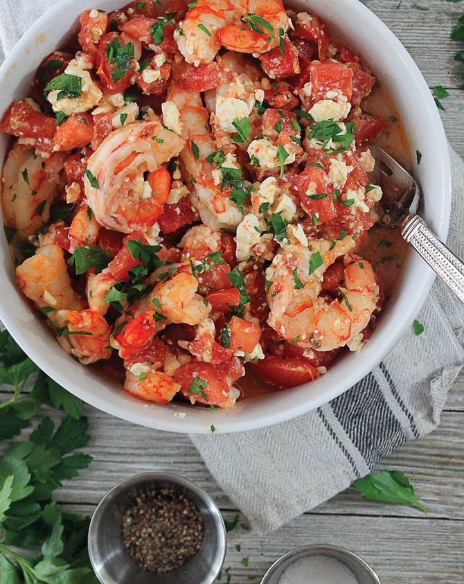 Mediterranean baked shrimp with feta and tomatoes