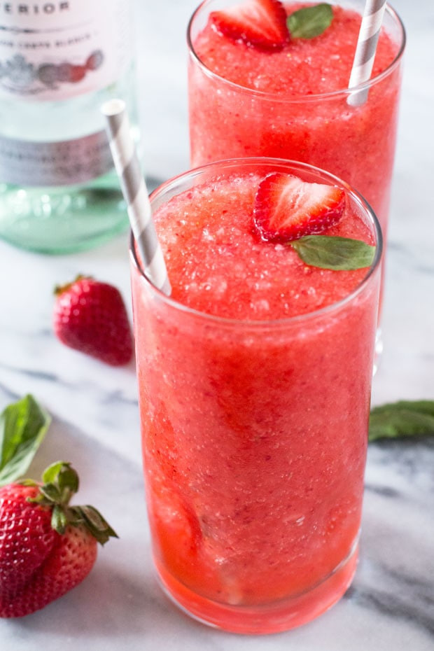 Fresh Strawberry Balsamic Basil Daiquiri