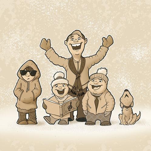 Countdown Art: Caroling Family (Signed Print)