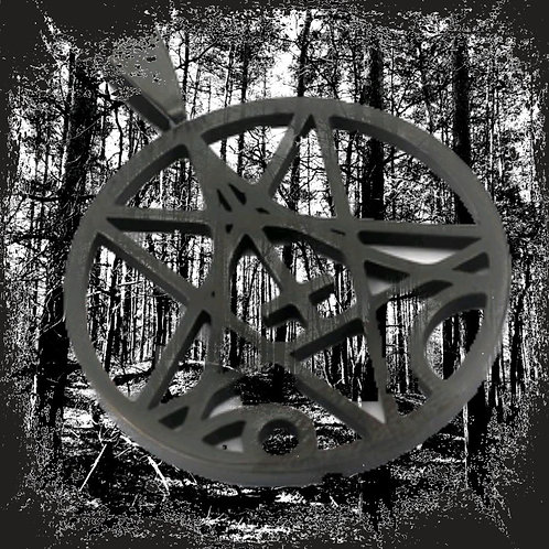 "Stainless steel pendant ""Pentagram-Cross"" black incl. Leatherette strap"