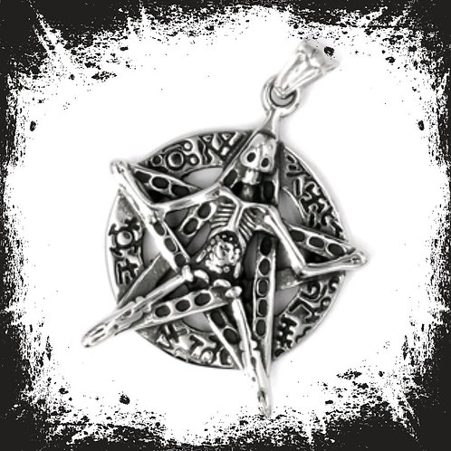 Edelstahlanhänger - Pentagram mit Skelett / Opfergabe