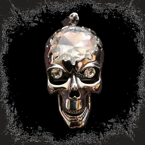 "Stainless steel pendant ""Skull"" with stone and Folding lower jaw"
