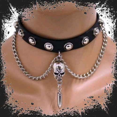 Choker with chain skull and cartridge (imitation leather)
