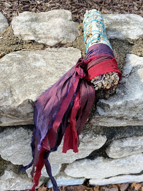 "9"" Sage Stick Adorned With Sari Silk- Red"