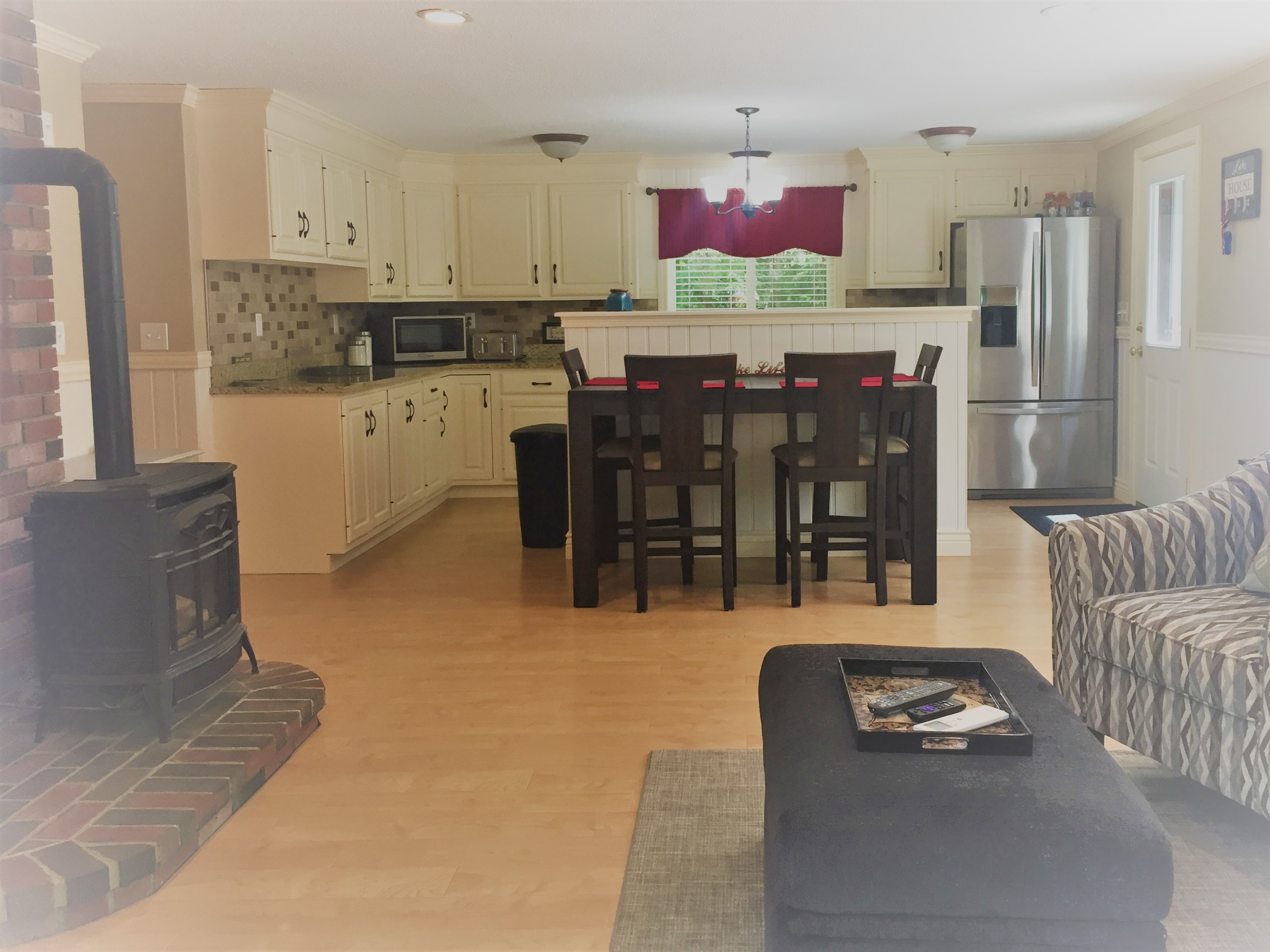 Kitchen, dining, sitting area