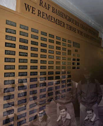 The Wall of Remembrance inside the Control Tower at Bassingbourn
