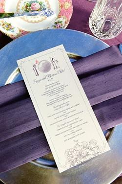 Wedding menus, charger plates