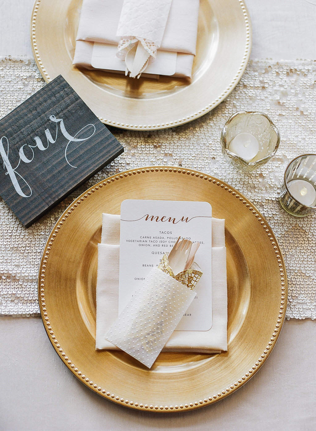 Gold charger plates, menu, votives