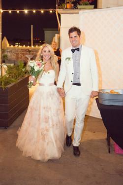 Wedding entrance, bridal gown