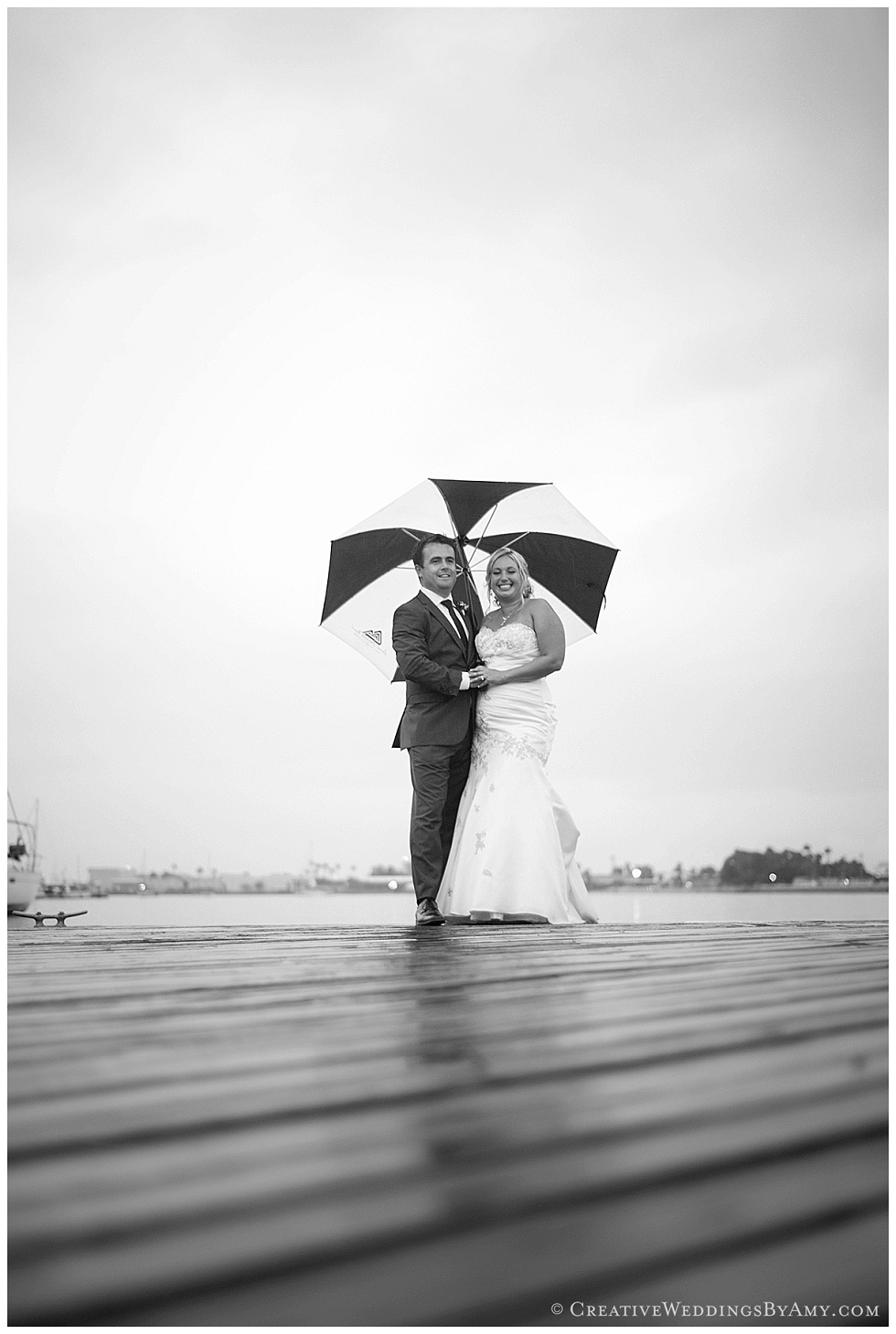 Rainy wedding in Coronado