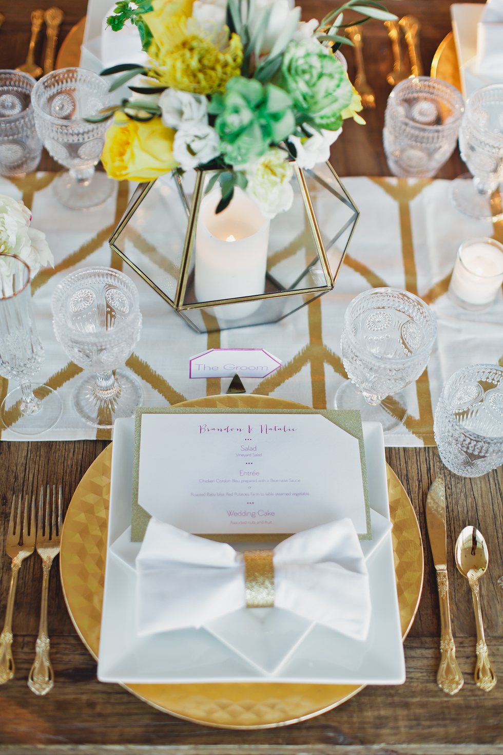 Geometric designed wedding details