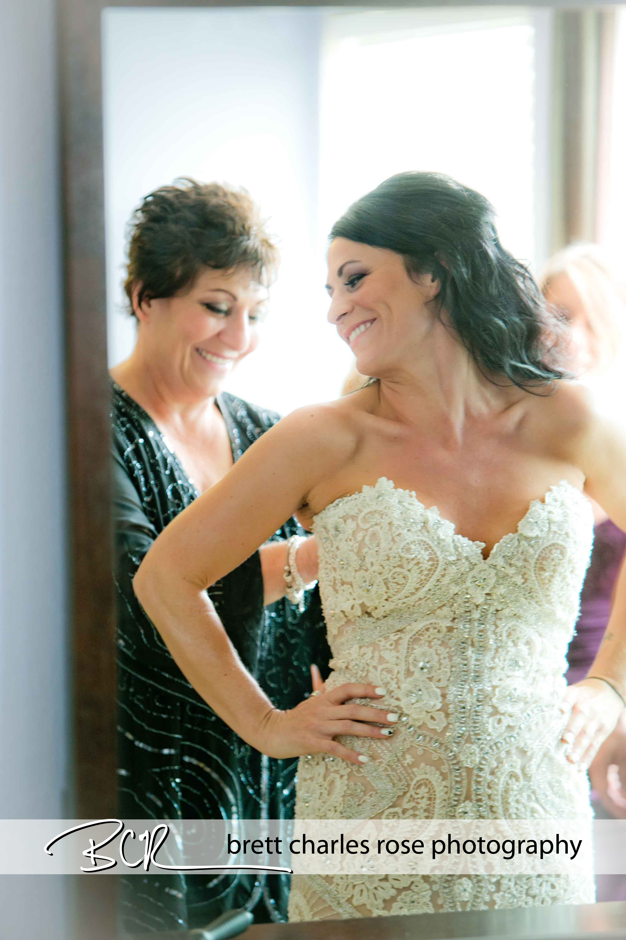 brides getting ready, wedding dress