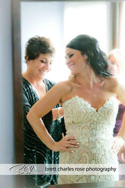 brides getting ready, wedding dress