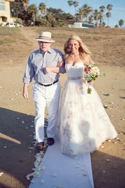 outdoor wedding, blush wedding dress