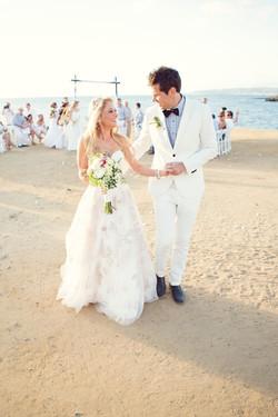 Wedding dress, grooms suit