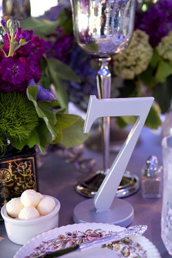 Wedding table numbers, centerpieces