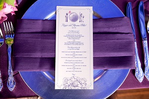 Wedding menus, custom papergoods