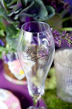 Custom wedding details, champagne