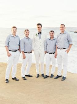 Ocean front wedding, goomsmen